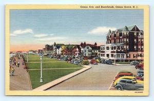 Postcard NJ Ocean Grove Ocean Avenue & Boardwalk View Vintage Linen I3