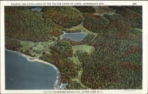Otter Lake NY 4th & 5th Lakes Adirondacks c1920 Postcard