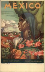 Travel Poster Art Mexico Mexican Tourism Art Deco Postcard
