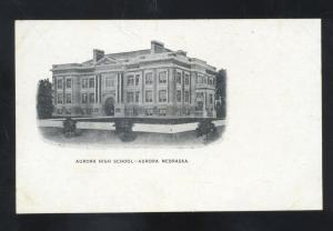 AURORA NEBRASKA AURORA HIGH SCHOOL BUILDING VINTAGE POSTCARD NEB.