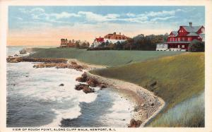 View of Rough Point, Along Cliff Walk, Newport, R.I., Early Postcard, Unused