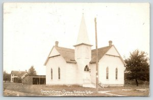 Hudson SD~Congregational Church~Stable Garage~House~LR Olofson~1912 RPPC