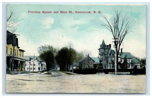 1911 Contoocook NH Postcard Fountain Square and Main Street New Hampshire