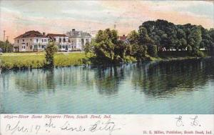 Indiana South Bend River Scene Navarre Place 1906