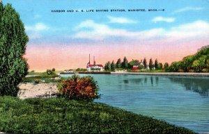 Michigan Manistee Harbor and U S Life Saving Station 1943