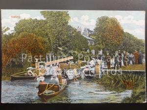 Oxfordshire: Goring Lock - showing rowing boats - excellent scene