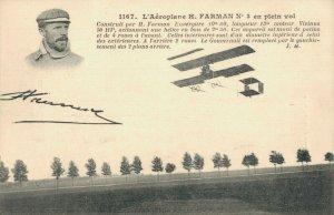 Aviaton L´Aeroplane H. Farman N3 en plein Vol Antique Airplane Postcard 03.75