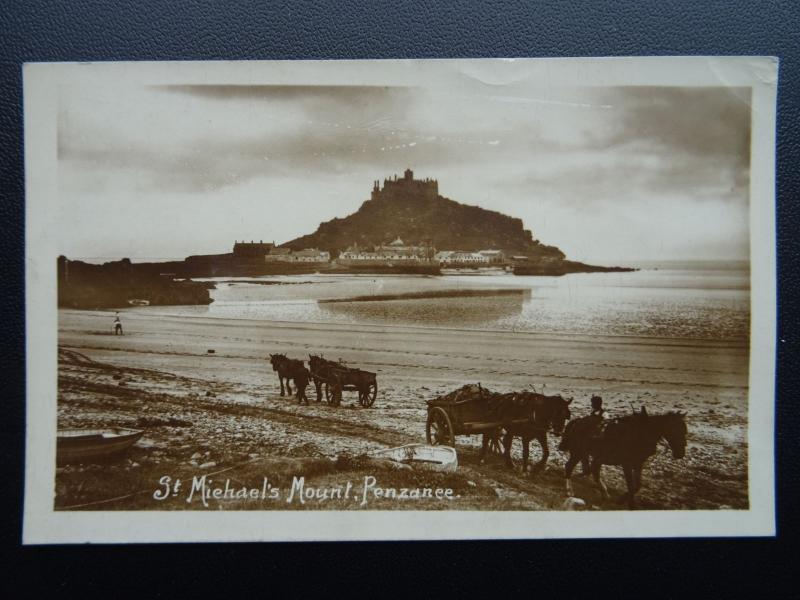 Cornwall PENZANCE St. Michael's Mount showing Horse & Carts c1912 RP Postcard