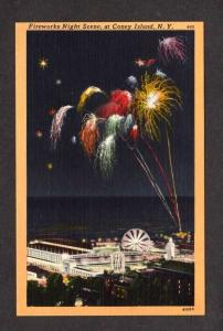 NY Coney Island Amusement Park Fireworks Fun Pavilion New York Postcard Linen