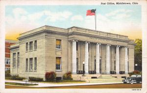 Post Office, Middletown, Ohio, Early Linen Postcard, Unused