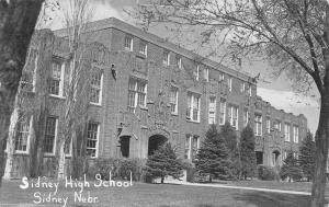Sidney Nebraska~Sidney High School~1950s B&W Postcard