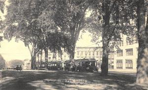 Pittsfield MA The Park Looking West Trolley's Postcard Proof