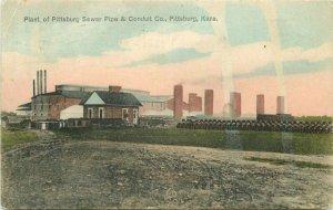 1908 Factory Industry Plant Pittsburgh Sewer Conduit Kansas Postcard 12154