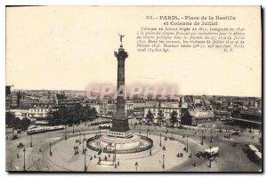 Old Postcard Paris Place de la Bastille and July Column