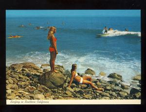 Malibu, California/CA Postcard, Surfers, Girls In Bikinis, Near Mint!