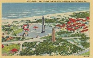 CAPE HENRY , Virginia , 1930-40s ; 0ld & New Lighthouses