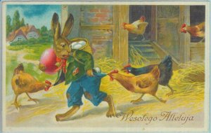 84027 - POLAND - VINTAGE  POSTCARD - Illustrated  GREETINGS Easter CHICKENS 1939