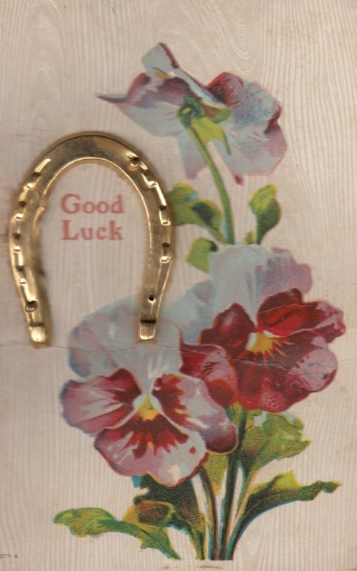 Pansy Flowers & Metalic Horseshoe Good Luck Greetings , 1910
