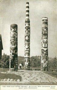 Camp Lake Wisconsin 100 Year Totem Poles Shagbark #19533 1948 Postcard 21-557