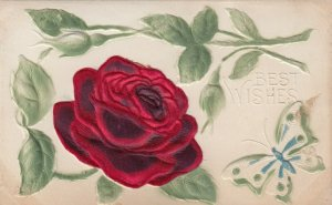 Best Wishes, Embossed Silk Red Rose , 00-10s
