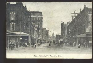 FORT WORTH TEXAS DOWNTOWN MAIN STREET SCENE 1907 VINTAGE POSTCARD STORES