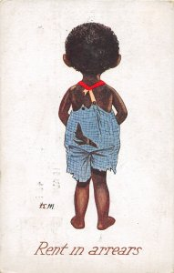 G4/ Black Americana Postcard Comic c1910 Rent in Arrears Boy Back 4