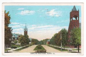 Hamilton Boulevard Peoria Illinois 1929 postcard