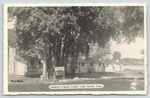 Park Rapids Minnesota~Crowley's Beach Cabins~Triple AAA~1930s B&W Postcard