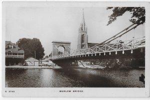 RPPC Marlow Bridge Road & Foot Traffic Over Thames River Berkshire England