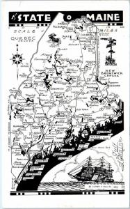STATE of MAINE,  ME   ROAD MAP CARD  Artist Luther S. Phillips 1959 Postcard