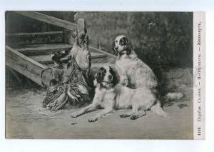 234706 ENGLISH SETTER Hunt WOODCOCK by GELIBERT old SALON