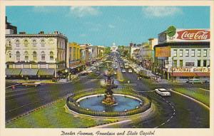 Alabama Montgomery Dexter Avenue Looking East Showing Fountain and State Capi...