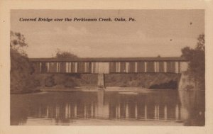 OAKS, Pennsylvania, 1900-10s; Covered Bridge over Perkiomen Creek