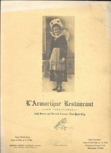 Vintage Restaurant Menu L'ARMORIQUE RESTAURANT New York dinner