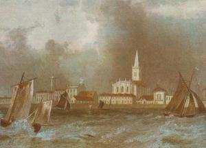 Harwich From The Sea Storm Disaster Essex Painting Postcard