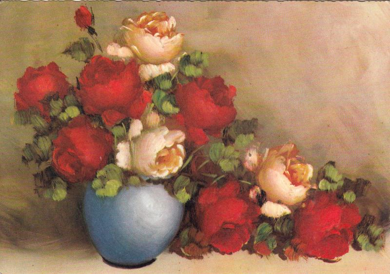 Art Painting Postcard Flowers Pot Vase Still Life Nature Morte