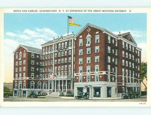 Unused W-Border OLD CARS & VAN CURLER HOTEL Schenectady New York NY u9333
