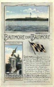 Baltimore, Maryland, USA Flag 1922 light crease right bottom edge, very light...