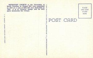 Chapel Hill, NC, UNC Methodist Church, 1944 Linen Vintage Postcard g8546