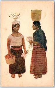 Vintage OAXACA, Mexico Postcard ZAPOTECAS Women Carrying Things on Head