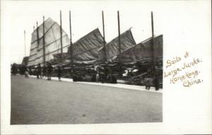 Hong Kong Hongkong China Large Junks c1910 Amateur Real Photo Postcard rtw