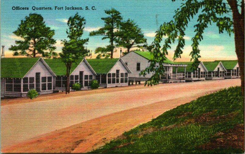 Vtg Lin Carte Postale Fort JACKSON Sud Caroline Sc Officiers Quarts