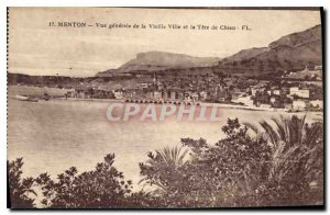 Old Postcard Menton general view of the Old City and the Dog Tete