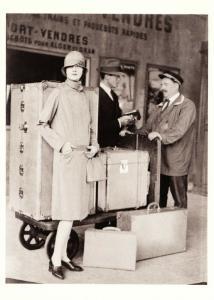 Jean Patou Raincoat Paris Fashion Cloche Hat Luggage in 1927 Modern Postcard