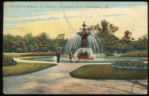 Fountain at Dauphin St Entrance, Fairmount Park, Philadelphia, PA. 1909 Postcard