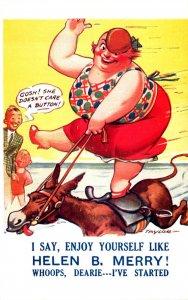 Humour Fat Woman Riding Horse I Say Enjoy Yourself Like Helen B Merry