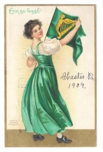 Clapsaddle Unsigned St Patricks 1909 Chester PA Flag Cancel