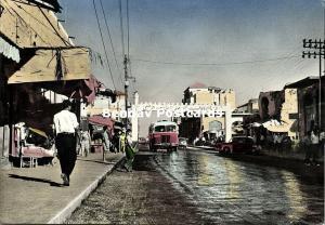 israel palestine, GAZA, Main Street, Car Bus (1959) Tinted RPPC