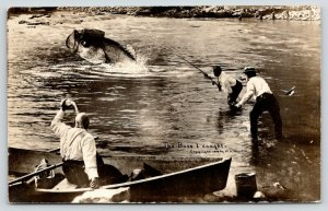 2 Fisherman Reel in Exaggerated Bass I Caught~Man Cools w/Water Bottle~RPPC 1909
