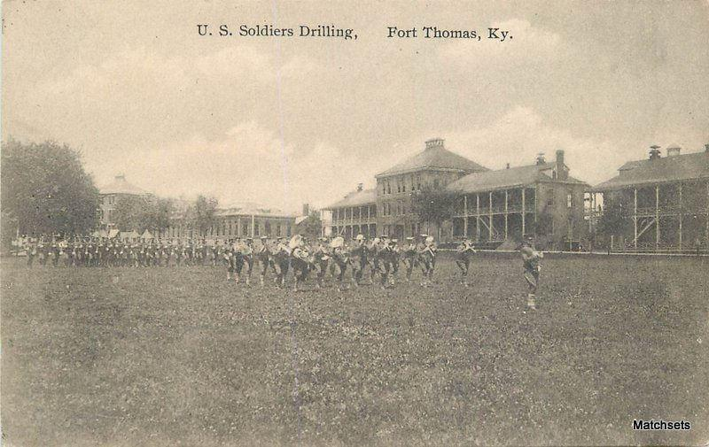 FORT THOMAS, KENTUCKY US Soldiers Drilling postcard 5329